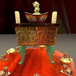 3D chinese incense burner model