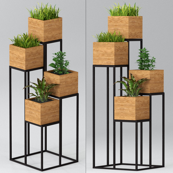 3D indoor plants pots shelf model