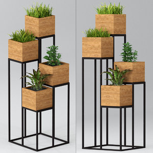 3D indoor plants pots shelf model