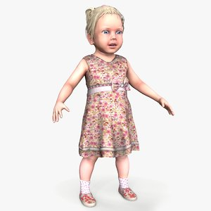 3D model ready little girl