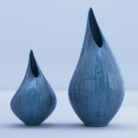 Blue Wooden Vases