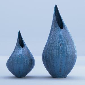 wooden wood vases model