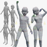 3D child meshes rigged base