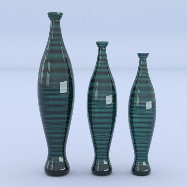 3D vases glass green