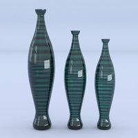 3D vases glass green