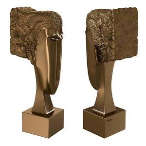 3D bronze statue woman head