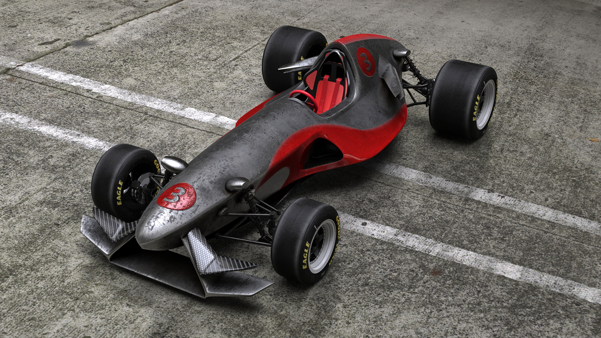 3D fictional formula car model