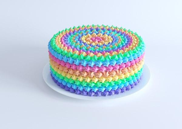 rainbow cake 3D