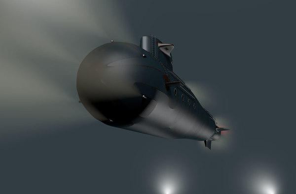 old submarine submarino - 3D model