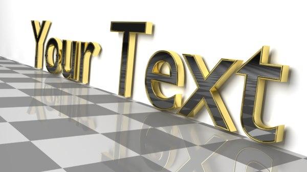 custom text 2 - 3D model