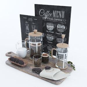 3D french press coffee set model
