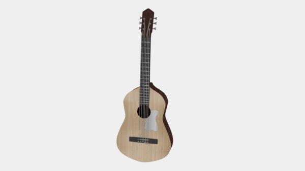 classic wooden guitar 3D model