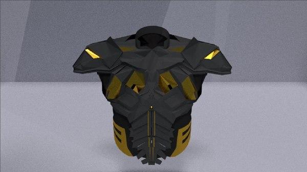 3D model futuristic chest armor