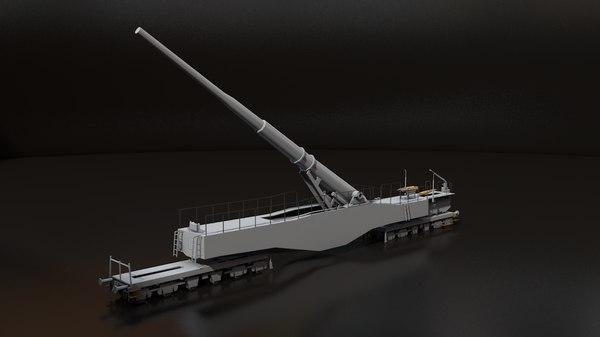 3D leopold german railway gun