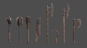 orcish weapons orc mace sword 3D model