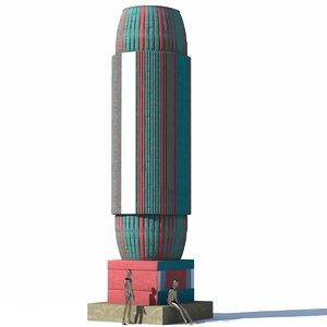 column fantasy egypt 3D
