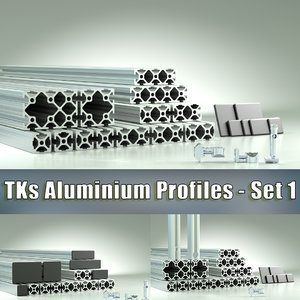 set 1 aluminium profiles 3D model