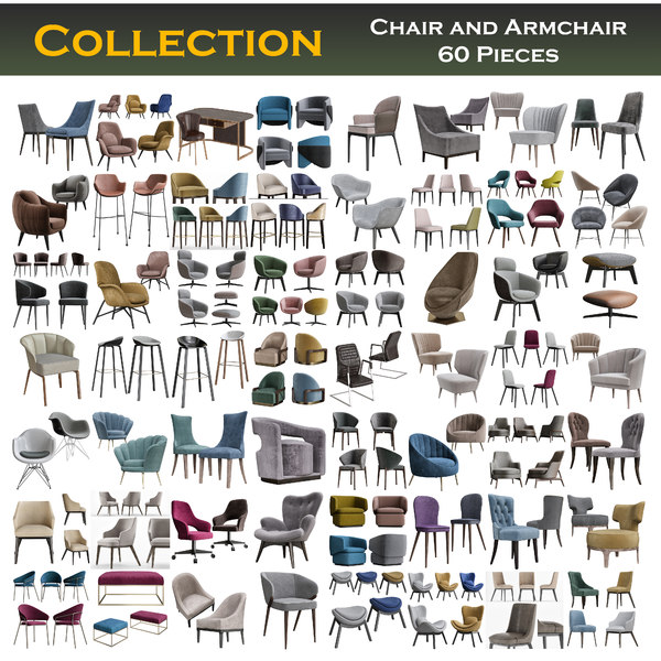 3D chairs armchair collections model