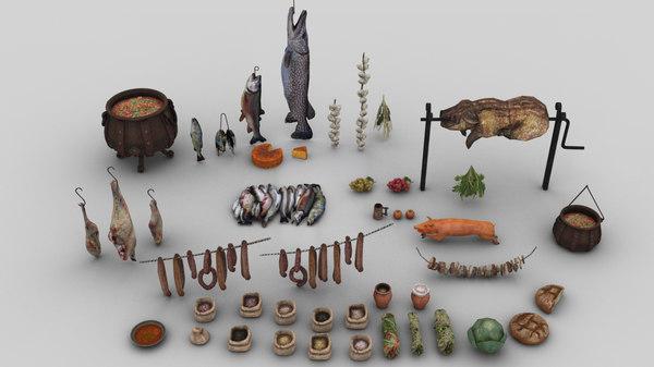 3D pack 45 medieval food model