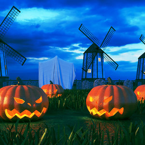 real halloween scene 3D model