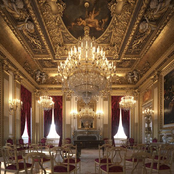3D scene piano room ballroom model