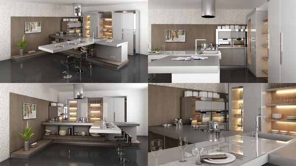 3D kitchen interior decoration