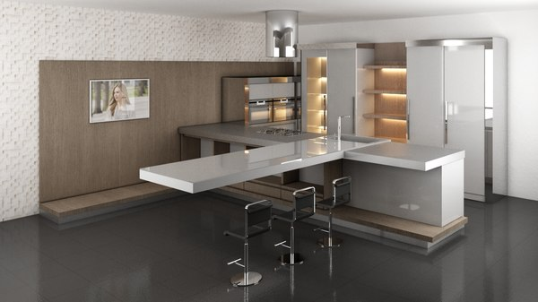 3D model kitchen interior decoration