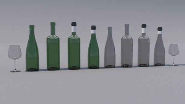 bottles glasses 3D model