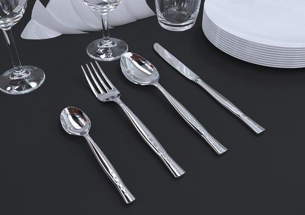 cutlery spoon fork 3D model