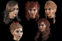 Set woman`s hairstyles 5 types