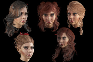 set hairstyle 5 types model