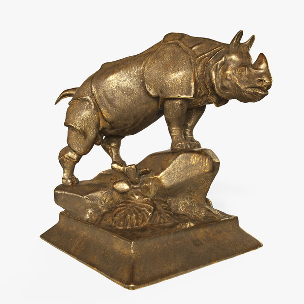3D old gold rhino statue