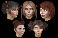 Set woman hairs lowpoly 5 types