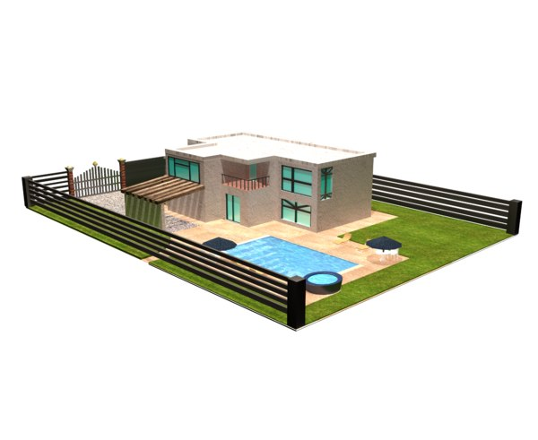 mansion piscina 3D model