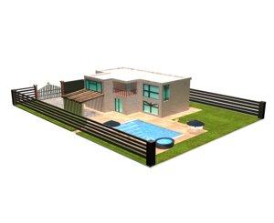 mansion piscina 3D model