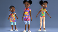AFRO GIRL - RIGGED CARTOON CHARACTER