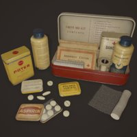 Vintage First Aid Kit - PBR Game Ready