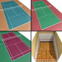 3D court tennis badminton squash