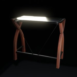 glass desk blender eevee 3D model