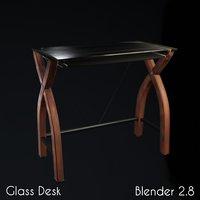 glass desk blender eevee 3D model