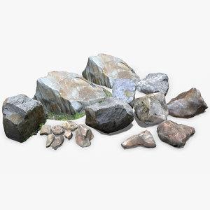 3D model stone rock pack scan