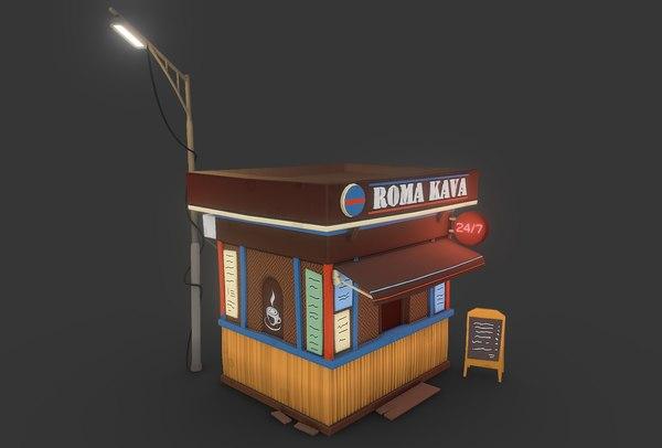 3D stall coffee shop