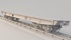 3D train flatcar flat model