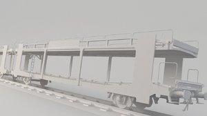 3D train transporting car