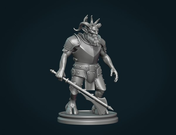 3D demon figure axe