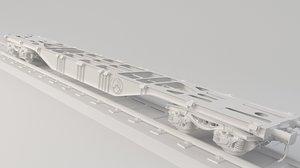 3D train flatcar flat