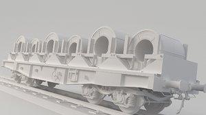 3D model train transporting spool