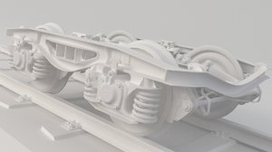 3D train wheel bogie model