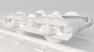 3D train wheel bogie
