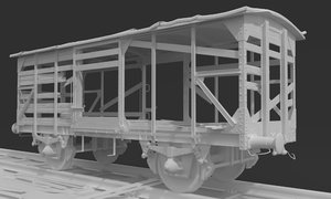 3D train woods wagon